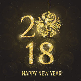 Vector 2018 Happy New Year greeting card