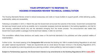 Your Opportunity to Respond to the Housing Standards Review Consultation